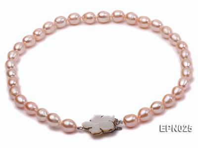 Extraordinary 10x12mm Natural Pink Elliptical Freshwater Pearl Necklace EPN025 Image 2