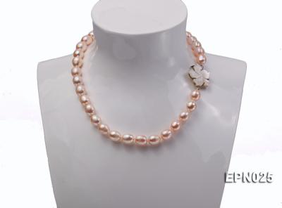 Extraordinary 10x12mm Natural Pink Elliptical Freshwater Pearl Necklace EPN025 Image 6