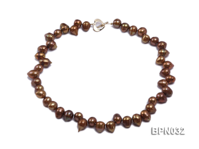 Classic 10x13mm Coffee Drop-shaped Freshwater Pearl Necklace big Image 1