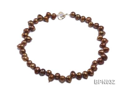 Classic 10x13mm Coffee Drop-shaped Freshwater Pearl Necklace BPN032 Image 1