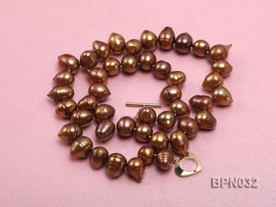 Classic 10x13mm Coffee Drop-shaped Freshwater Pearl Necklace BPN032 Image 3