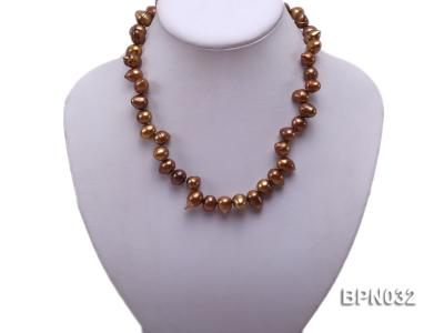Classic 10x13mm Coffee Drop-shaped Freshwater Pearl Necklace BPN032 Image 5