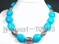 20x25mm blue oval turquoise necklace with white gilded clasp TQN033