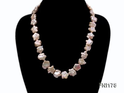 Classic 15mm Pink Flower-shaped Freshwater Pearl Necklace FNI178 Image 2