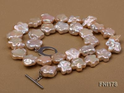 Classic 15mm Pink Flower-shaped Freshwater Pearl Necklace FNI178 Image 5