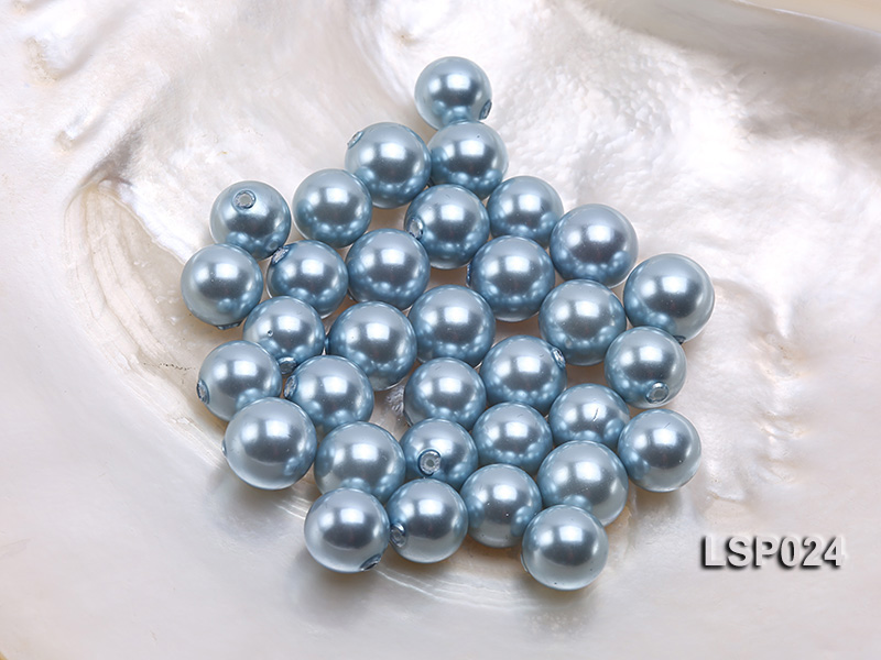 Wholesale 10-12.5mm Light Blue Round Seashell Pearl Bead big Image 1