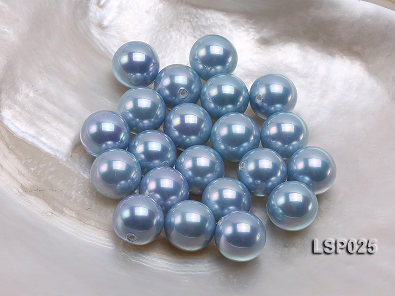 Wholesale 14mm Silver Blue Round Seashell Pearl Bead big Image 1