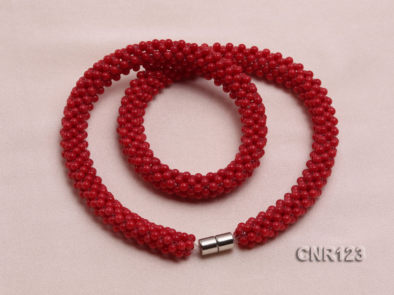 2-3mm Round Red Coral Necklace  big Image 2