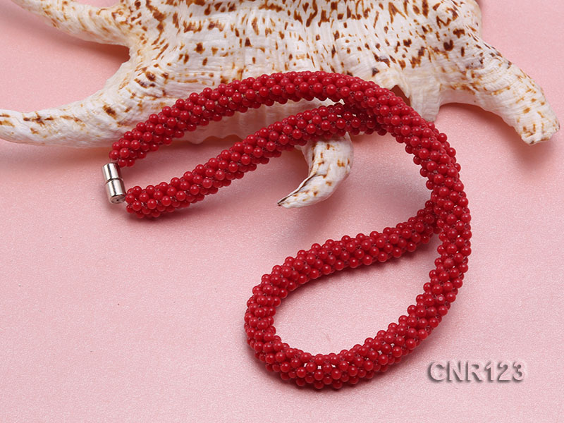 2-3mm Round Red Coral Necklace  big Image 4