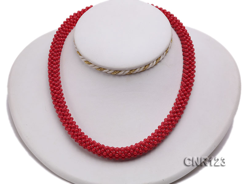 2-3mm Round Red Coral Necklace  big Image 5