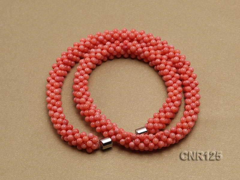 2-3mm Round Pink Coral Necklace  big Image 2