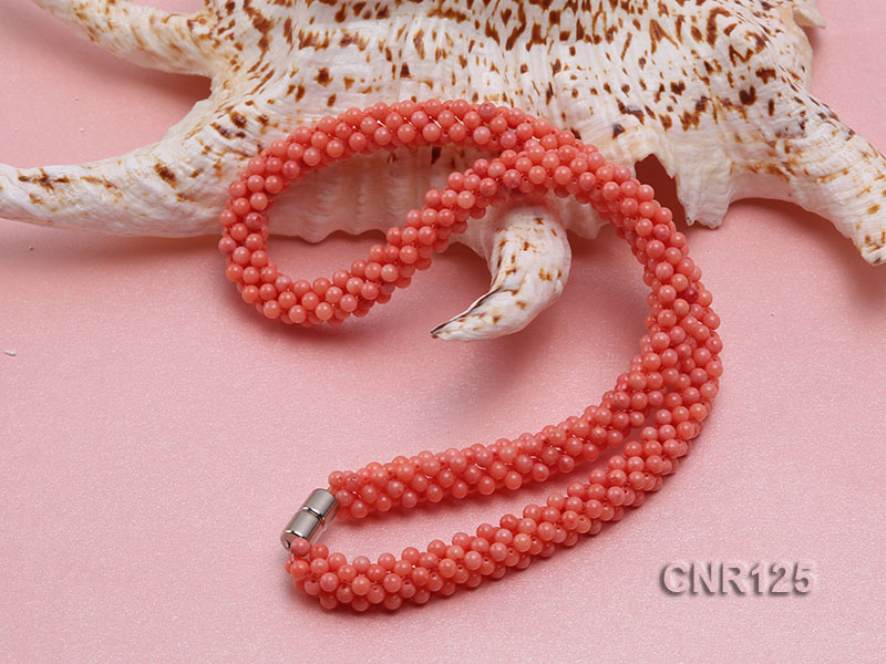 2-3mm Round Pink Coral Necklace  big Image 4