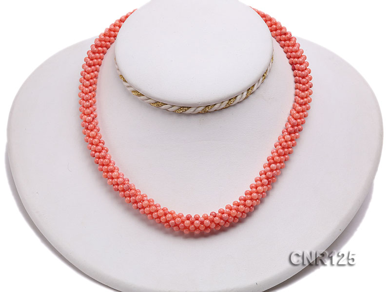 2-3mm Round Pink Coral Necklace  big Image 5