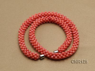 2-3mm Round Pink Coral Necklace  CNR125 Image 2