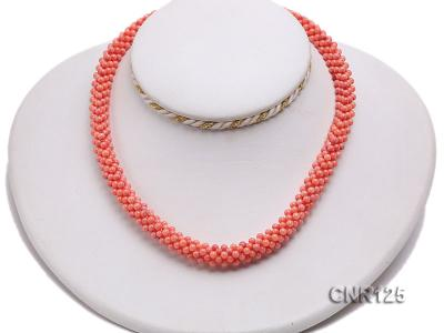 2-3mm Round Pink Coral Necklace  CNR125 Image 5