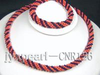 2-3mm Round Red Coral and Black Agate Woven Necklace and Bracelet Set CNR126