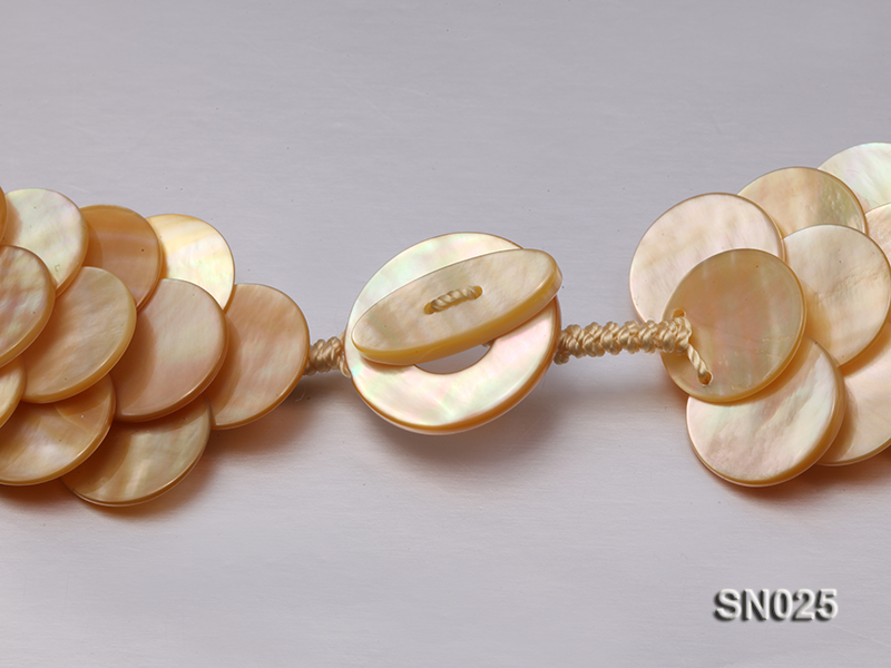 Natural Button-shaped Yellow Shell Pieces Necklace big Image 5