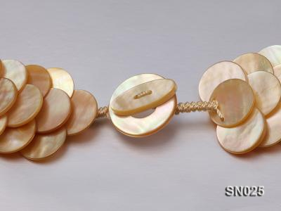 Natural Button-shaped Yellow Shell Pieces Necklace SN025 Image 5