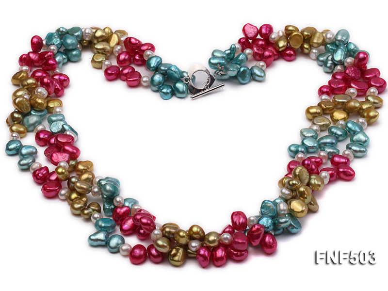 Three-strand Red, Champagne , Blue and White Freshwater Pearl Necklace big Image 1