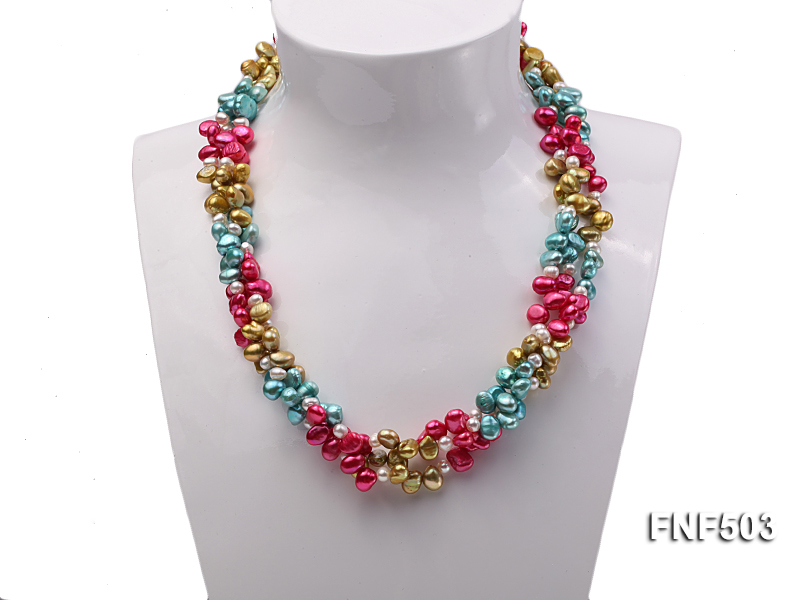 Three-strand Red, Champagne , Blue and White Freshwater Pearl Necklace big Image 2