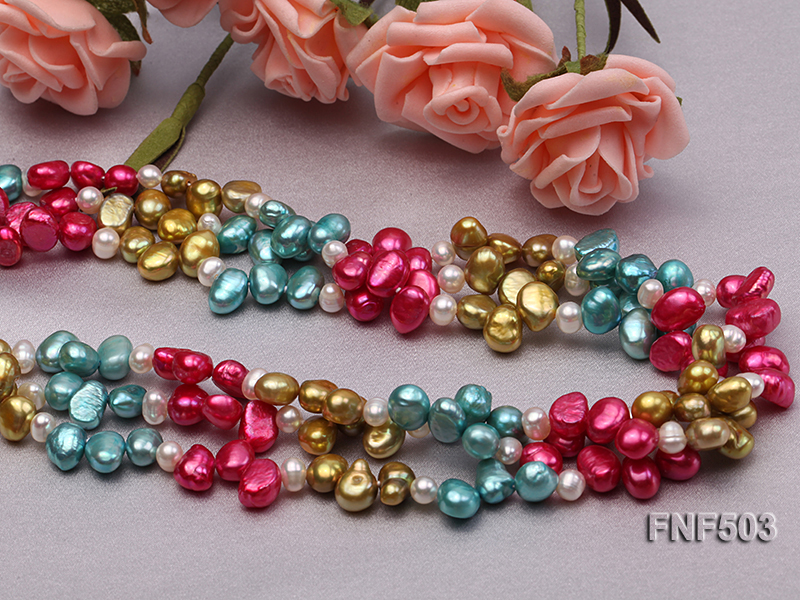 Three-strand Red, Champagne , Blue and White Freshwater Pearl Necklace big Image 3