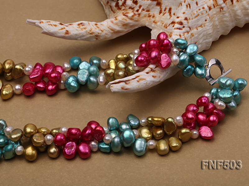 Three-strand Red, Champagne , Blue and White Freshwater Pearl Necklace big Image 5