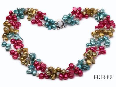 Three-strand Red, Champagne , Blue and White Freshwater Pearl Necklace FNF503 Image 1