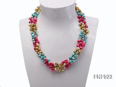 Three-strand Red, Champagne , Blue and White Freshwater Pearl Necklace FNF503 Image 2