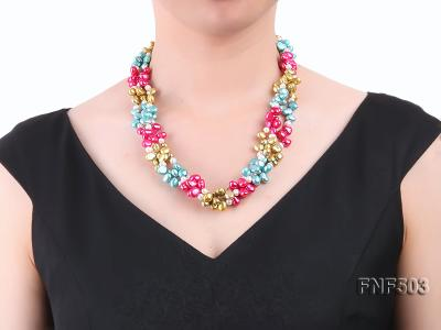 Three-strand Red, Champagne , Blue and White Freshwater Pearl Necklace FNF503 Image 6