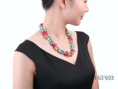 Three-strand Red, Champagne , Blue and White Freshwater Pearl Necklace FNF503 Image 7