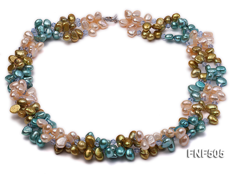 Three-strand 7-8mm Pink, Yellow and blue Freshwater Pearl Necklace Dotted with Blue Quartz Beads big Image 1