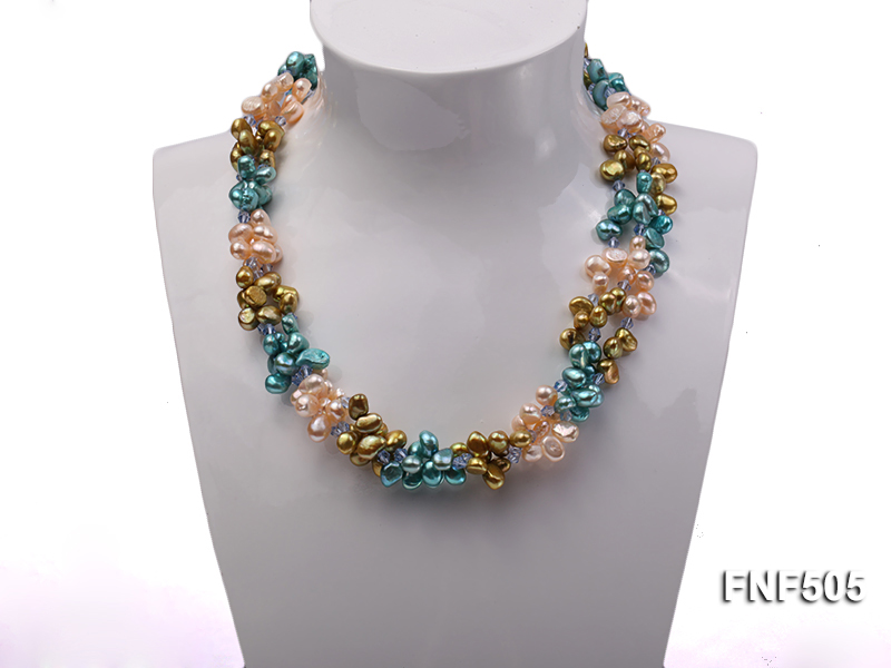 Three-strand 7-8mm Pink, Yellow and blue Freshwater Pearl Necklace Dotted with Blue Quartz Beads big Image 2