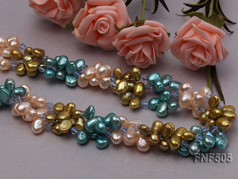Three-strand 7-8mm Pink, Yellow and blue Freshwater Pearl Necklace Dotted with Blue Quartz Beads big Image 3