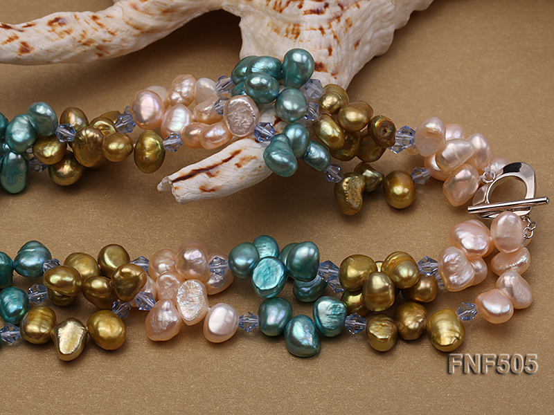 Three-strand 7-8mm Pink, Yellow and blue Freshwater Pearl Necklace Dotted with Blue Quartz Beads big Image 5
