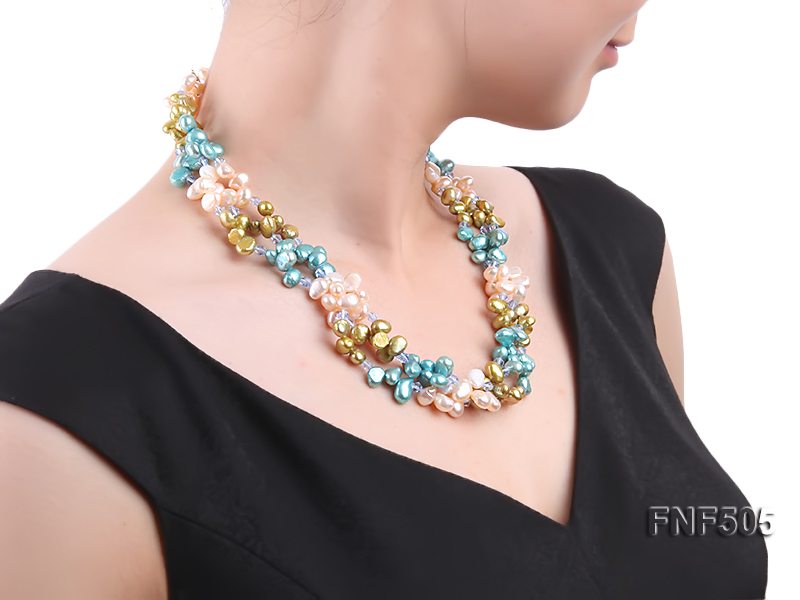 Three-strand 7-8mm Pink, Yellow and blue Freshwater Pearl Necklace Dotted with Blue Quartz Beads big Image 6