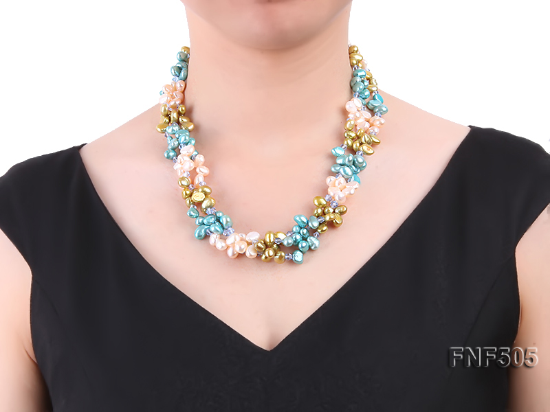 Three-strand 7-8mm Pink, Yellow and blue Freshwater Pearl Necklace Dotted with Blue Quartz Beads big Image 7