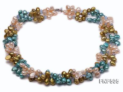 Three-strand 7-8mm Pink, Yellow and blue Freshwater Pearl Necklace Dotted with Blue Quartz Beads FNF505 Image 1