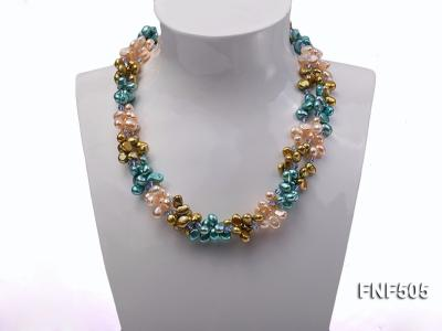 Three-strand 7-8mm Pink, Yellow and blue Freshwater Pearl Necklace Dotted with Blue Quartz Beads FNF505 Image 2