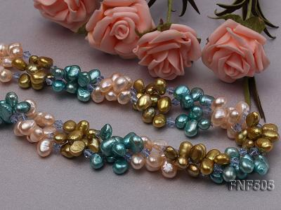 Three-strand 7-8mm Pink, Yellow and blue Freshwater Pearl Necklace Dotted with Blue Quartz Beads FNF505 Image 3