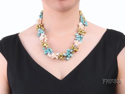 Three-strand 7-8mm Pink, Yellow and blue Freshwater Pearl Necklace Dotted with Blue Quartz Beads FNF505 Image 7