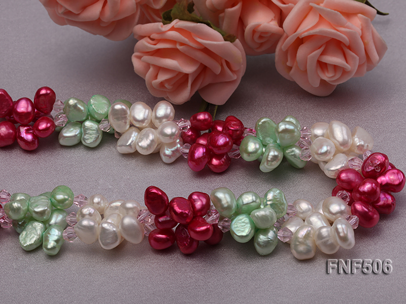 Three-strand White, Red and Green Freshwater Pearl Necklace Dotted with Pink Quartz Beads big Image 2