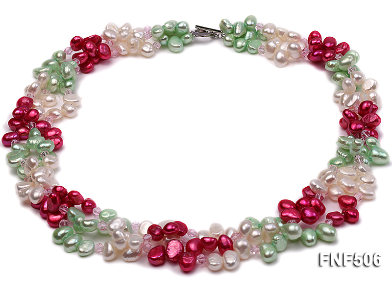 Three-strand White, Red and Green Freshwater Pearl Necklace Dotted with Pink Quartz Beads big Image 1