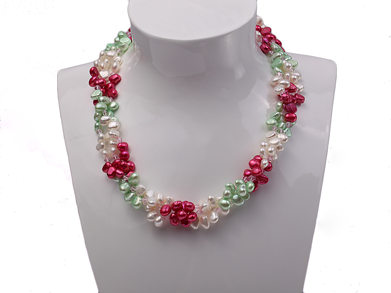 Three-strand White, Red and Green Freshwater Pearl Necklace Dotted with Pink Quartz Beads big Image 3