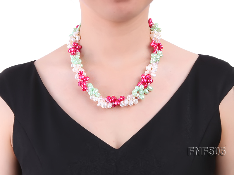 Three-strand White, Red and Green Freshwater Pearl Necklace Dotted with Pink Quartz Beads big Image 7