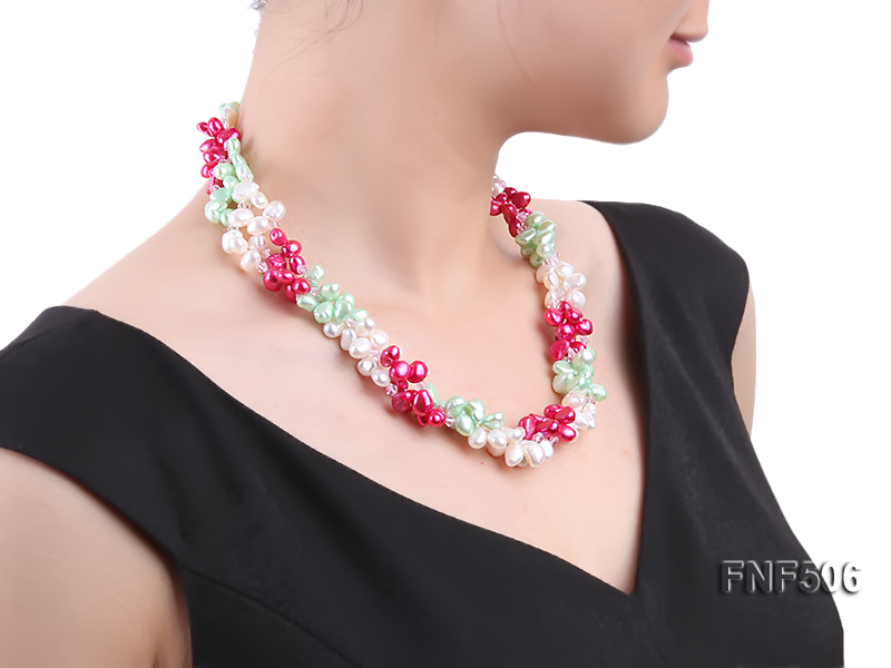 Three-strand White, Red and Green Freshwater Pearl Necklace Dotted with Pink Quartz Beads big Image 4