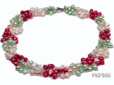Three-strand White, Red and Green Freshwater Pearl Necklace Dotted with Pink Quartz Beads FNF506 Image 1