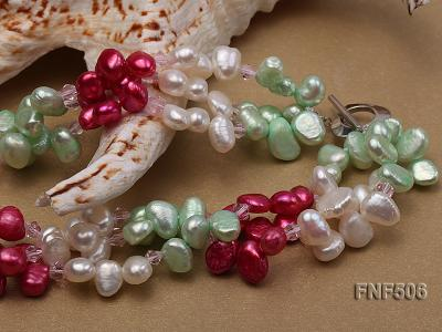 Three-strand White, Red and Green Freshwater Pearl Necklace Dotted with Pink Quartz Beads FNF506 Image 5