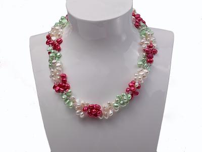 Three-strand White, Red and Green Freshwater Pearl Necklace Dotted with Pink Quartz Beads FNF506 Image 3