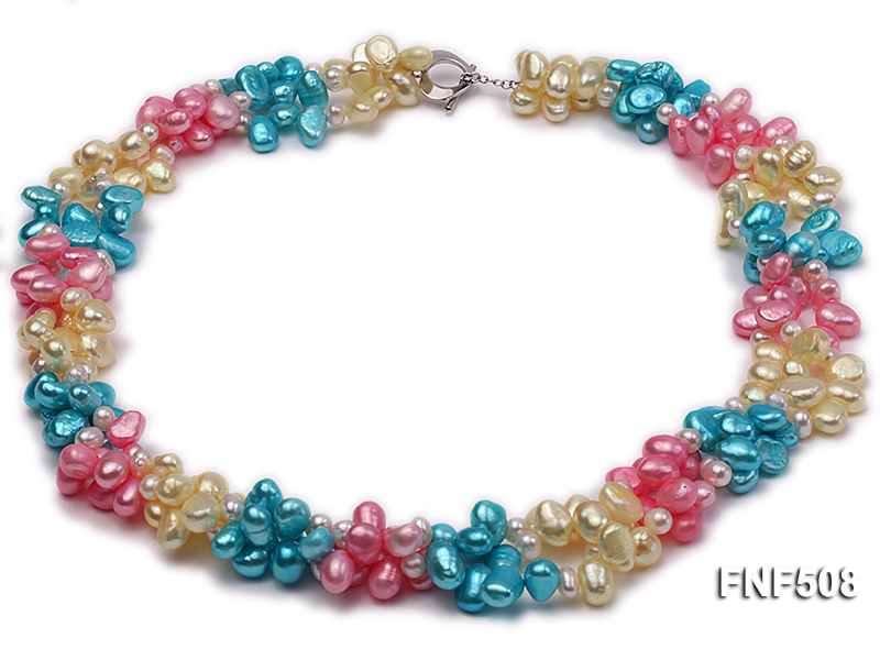 Three-strand 7-8mm Blue, Pink and Light-yellow Freshwater Pearl Necklace big Image 1