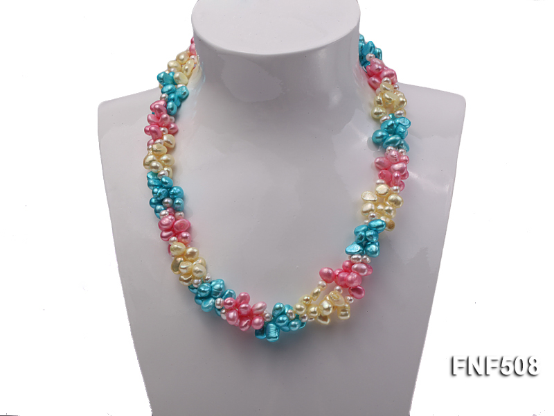Three-strand 7-8mm Blue, Pink and Light-yellow Freshwater Pearl Necklace big Image 2